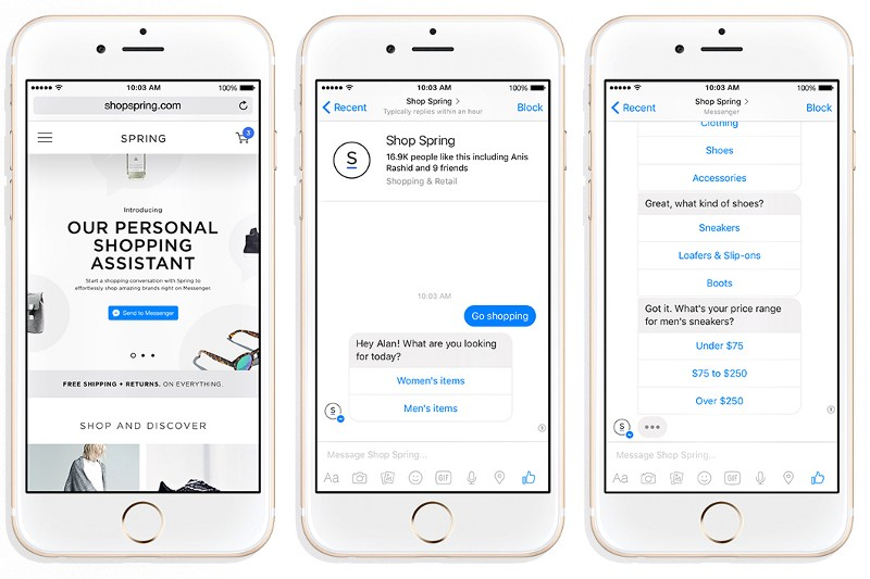 Shopping for fashion with Spring's bot on Facebook Messenger