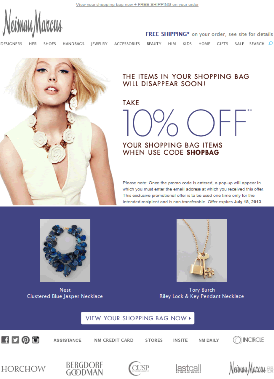 How Neiman Marcus uses coupons to address cart abandonment