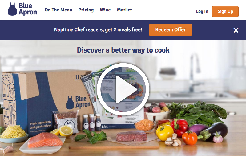 Blue Apron offers its influencers and bloggers personal discount codes to give to their readers.