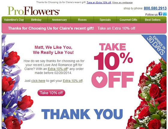 ProFlowers personalized coupon offer